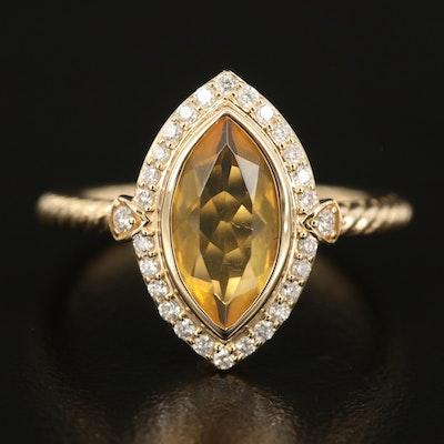 Judith Ripka 14K Fire Opal and Diamond Navette Ring