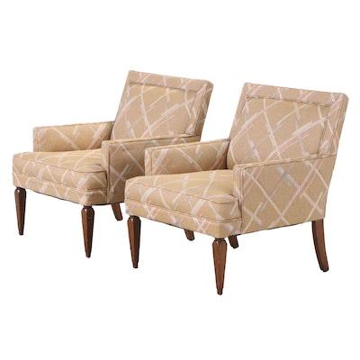 Pair of Mid Century Modern Custom-Upholstered Club Chairs