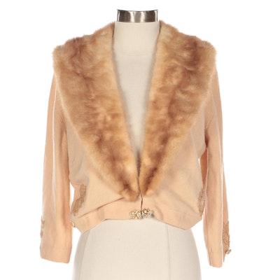 Bernhard Altmann Embellished Cashmere Cardigan with Detachable Mink Fur Collar