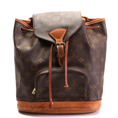 Louis Vuitton Montsouris PM Backpack in Monogram Canvas with Leather Trim