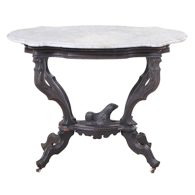 """Victorian Ebonized Walnut and White Marble """"Recumbent Dog"""" Parlor Table"""