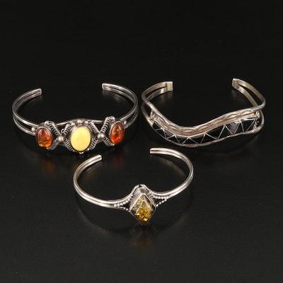 Sterling Gemstone Cuffs by Running Bear Studio and E&C Seoutewa Zuni