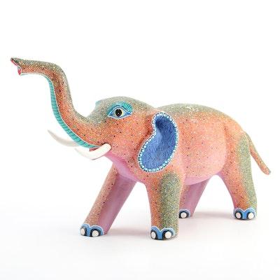 Arturo Castillo Hand-Painted Wood Folk Art Elephant Alebrije Figurine