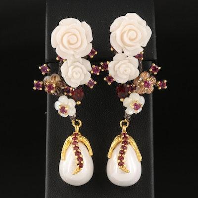 Sterling Imitation Pearl and Gemstone Floral Drop Earrings