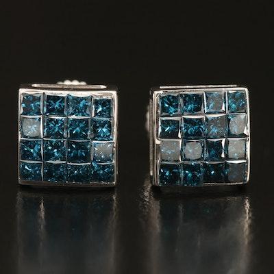 14K 1.12 CTW Fancy Blue Diamond Stud Earrings