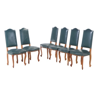 Six French Provincial Style Cherrywood and Green Leather Side Chairs