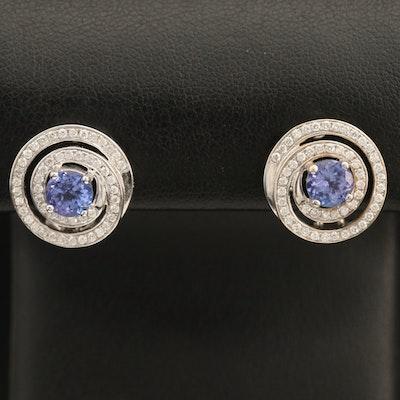 18K Tanzanite and 0.55 CTW Diamond Button Swirl Earrings