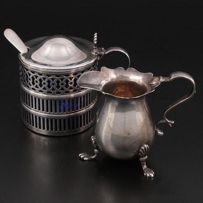 Birmingham English Sterling Silver Creamer with Webster Mustard Pot