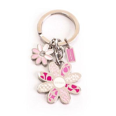 Coach Pink Monogram Flower Key Ring