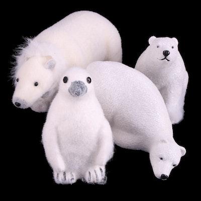 Polar Bear and Penguin Decorative Winter Figurines