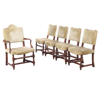 Five Jacobean Revival Walnut Dining Chairs, Early 20th Century