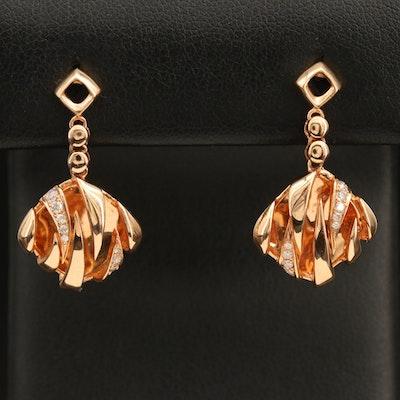 18K 0.20 CTW Diamond Drop Earrings