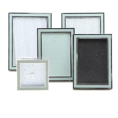 Restoration Hardware Metal Easel Picture Frames with Square Desk Clock