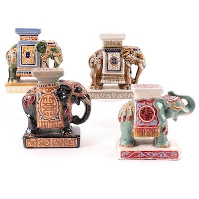 Vietnamese and Korean Earthenware Elephant Figures