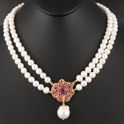 Pearl and Ruby Pendant Necklace with Sterling Clasp and Baroque Pearl Drop
