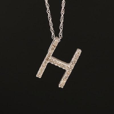"14K 0.13 CTW Diamond ""H"" Pendant Necklace"