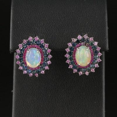 Sterling Opal and Sapphire Triple Drop Earrings