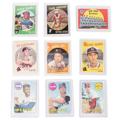 1959 and 1969 Topps Baseball Cards with Stars and Hall of Fame Players