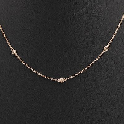 18K 0.25 CTW Brown Diamond Station Necklace