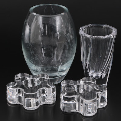 """Orrefors """"Residence"""" Crystal Vase and Daisy Form Votive Holders with Other Vase"""
