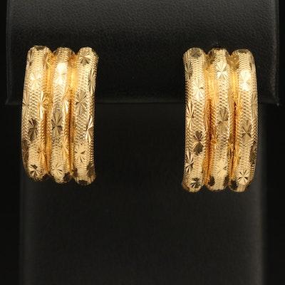 14K Half Hoop Earrings with Diamond Cut Accents