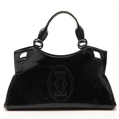 Cartier Marcello de Cartier Black Patent Leather Satchel