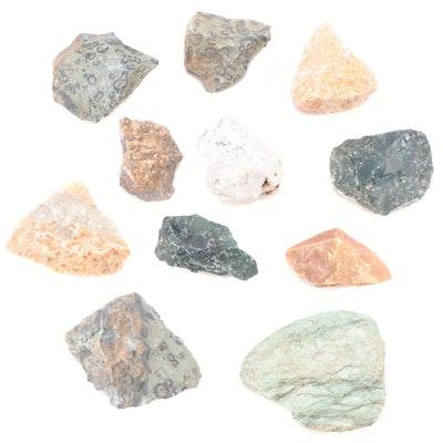 Ocean Jasper, Fuchsite Mica, Tree Agate, Calcite and Other Mineral Specimens