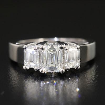 Platinum 2.01 CTW Diamond Three Stone Ring with GIA Reports