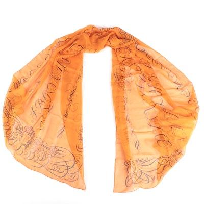 Hermès Alphabet Silk Mousseline Stole Wrap with Box