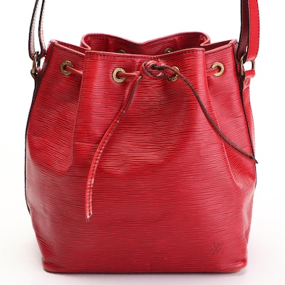 Louis Vuitton Petit Noé Drawstring Bucket Bag in Red Epi and Smooth Leather