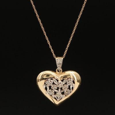 10K 0.11 CTW Diamond Floral Heart Pendant Necklace