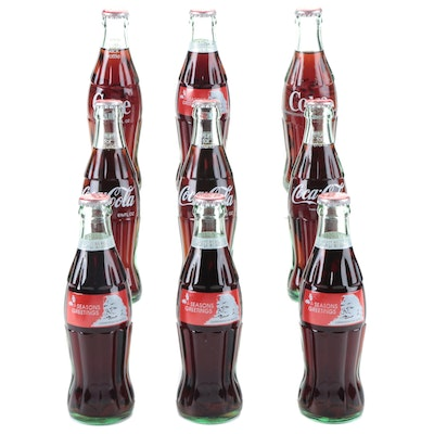 """Coca-Cola """"Seasons Greetings"""" and Other Unopened Glass Bottles, 1980s"""