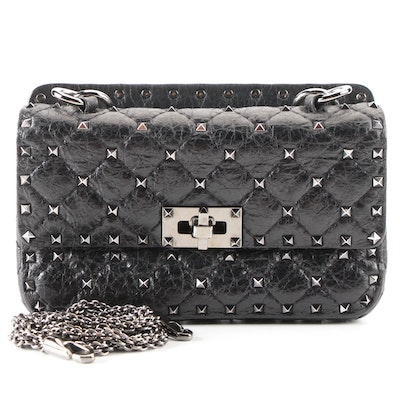 Valentino Rockstud Flap Shoulder Bag in Black Leather with Detachable Chain