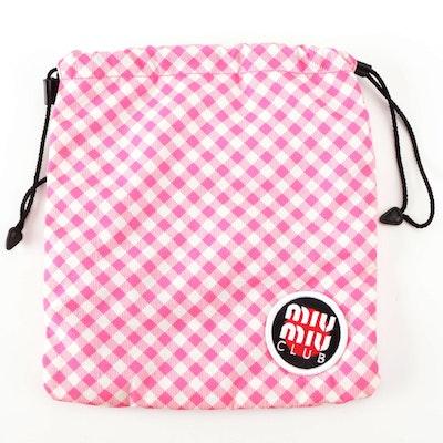 MiuMiu Club Patch Drawstring Pouch in Pink-White Gingham Print Nylon in Box