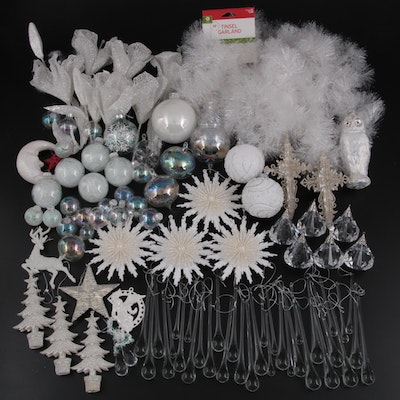 Celestial Motif Silver and White Christmas Ornaments and Tinsel