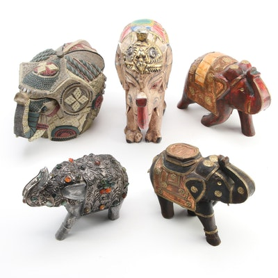 Wood and Resin Elephant Figurines and Box