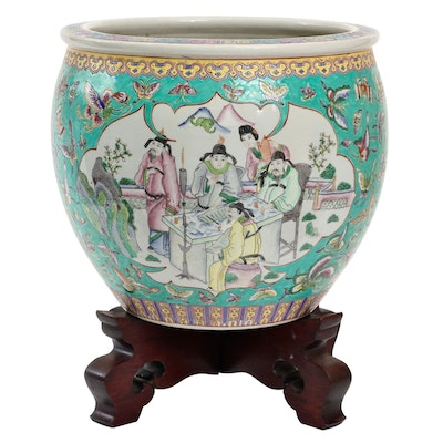 Chinese Porcelain Fishbowl Planter and Stand, Late 18th Century