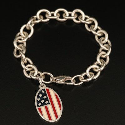 Tiffany & Co. Sterling Enamel American Flag Bracelet