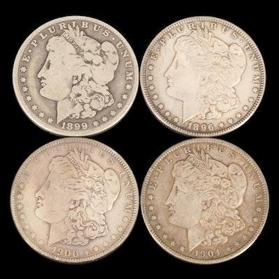 Four Morgan Silver Dollars