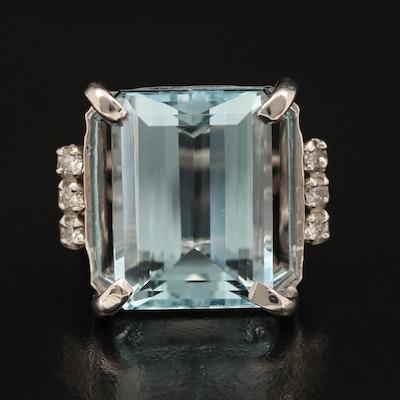 18K 16.57 CT Aquamarine and Diamond Ring