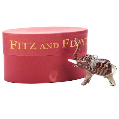 Fitz and Floyd Glass Menagerie Handcrafted Art Glass Elephant Figurine, 2004