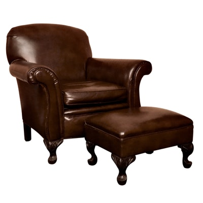 Edwardian Style Leather Lounge Chair and Ottoman, 20th Century