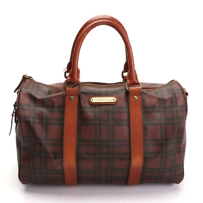 Polo Ralph Lauren Plaid Coated Canvas and Leather Satchel