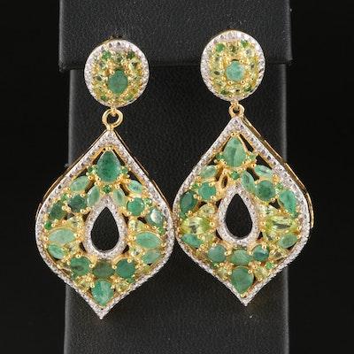 Sterling Silver Emerald and Peridot Drop Earrings