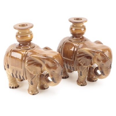 Fitz and Floyd Brown Glazed Ceramic Elephant Candlesticks