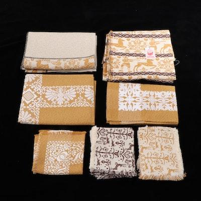 German Handmade Tyrolean Jacquard Tablecloths, Runnners and Napkins