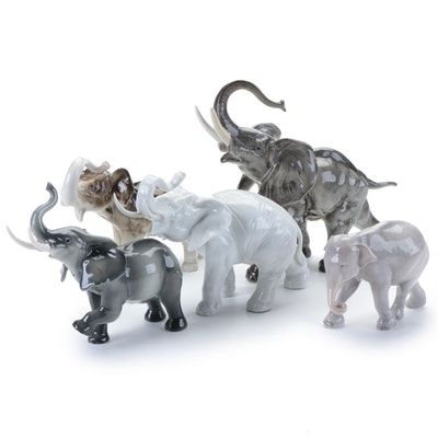 Lorenz Hutschenreuther, Royal Copenhagen and Other Porcelain Elephant Figurines