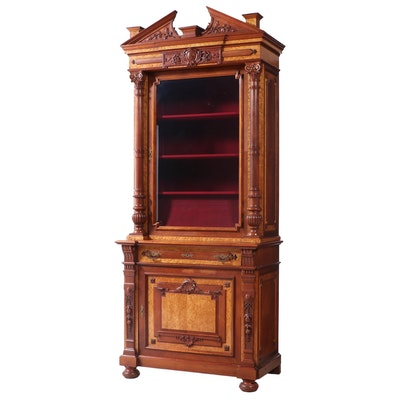 English Renaissance-Revival Walnut and Bird's-Eye Maple Cabinet