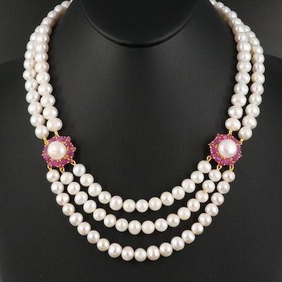 Sterling Silver Pearl and Ruby Festoon Necklace