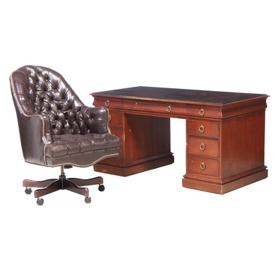 Old Hickory Tannery Leather Executive Chair with Hekman Walnut Kneehole Desk